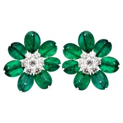 18K White Gold Emerald and Diamond Earrings