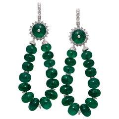 18 Karat White Gold Emerald and Diamond Earrings
