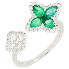 18 Karat White Gold Emerald and Diamond Flower Ring