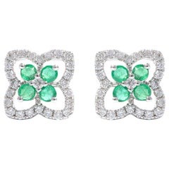 18 Karat White Gold Emerald and Diamond Four-Leaf Clover Earring