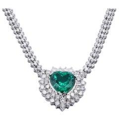 18 Karat White Gold Emerald and Diamond Heart Necklace