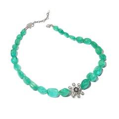 18 Karat White Gold Emerald and Diamond Necklace