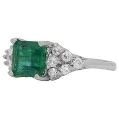 18 Karat White Gold, Emerald, and Diamond Ring