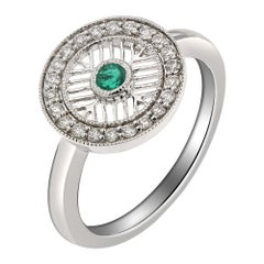 18 Karat White Gold, Emerald and Diamond Ring