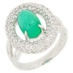 18 Karat White Gold Emerald and Diamond Ring