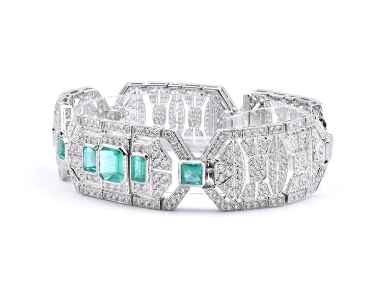 Mixed Cut 18 Karat White Gold Emerald and White Art Deco Style Bracelet For Sale
