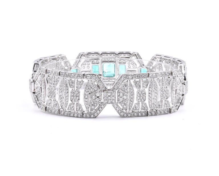 18 Karat White Gold Emerald and White Art Deco Style Bracelet In Excellent Condition For Sale In Scottsdale, AZ