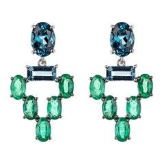 18 Karat White Gold Emerald Blue Topaz Earrings