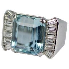 18 Karat White Gold Emerald Cut Aquamarine and Emerald Cut Diamonds Ring