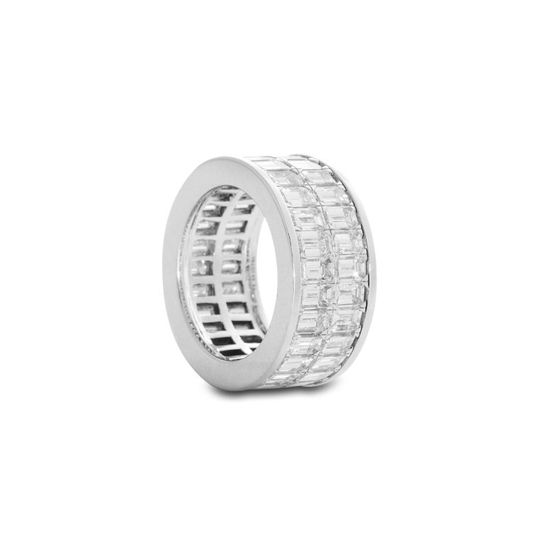 Contemporary 18 Karat White Gold Emerald Cut Diamond Eternity Band For Sale
