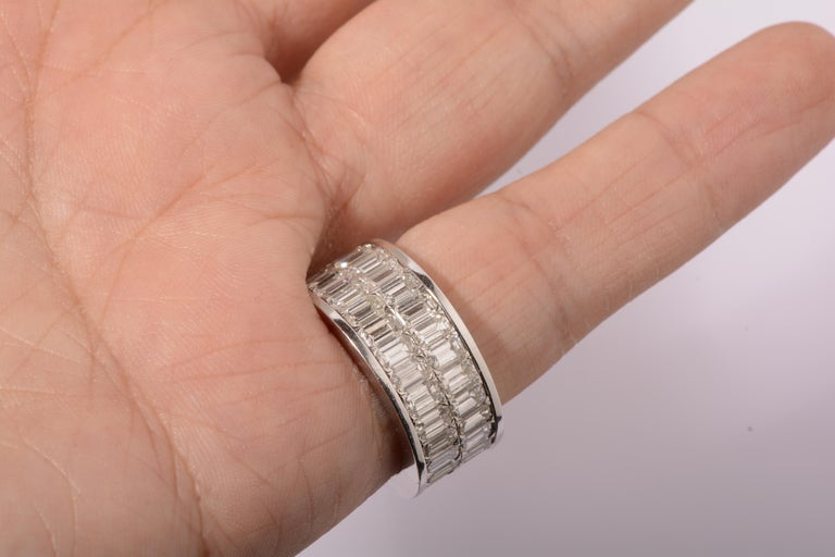Women's or Men's 18 Karat White Gold Emerald Cut Diamond Eternity Band For Sale