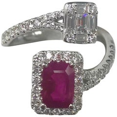 18 Karat White Gold Emerald Cut Natural Heated Ruby and Genuine Diamond Ring