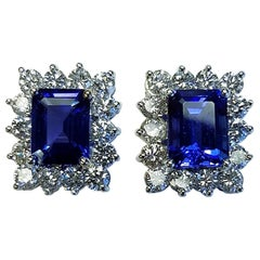 18 Karat White Gold Emerald Cut Tanzanite and Diamond Earrings
