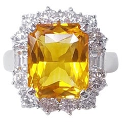 18 Karat White Gold Emerald Cut Yellow Sapphire and Diamond Ring
