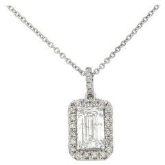 18 Karat White Gold Emerald Diamond Halo Pendant GIA '2 Carat'
