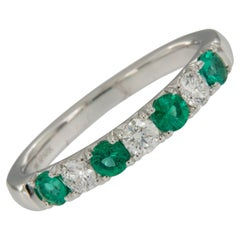 18 Karat White Gold Emerald & Diamond Stackable Band Ring by Spark Creations