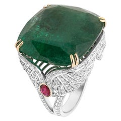18 Karat White Gold Emerald Ruby and Diamond Cocktail Ring