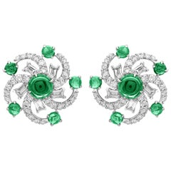 18 Karat White Gold Emerald, Tsavorite and Diamond Stud Earrings