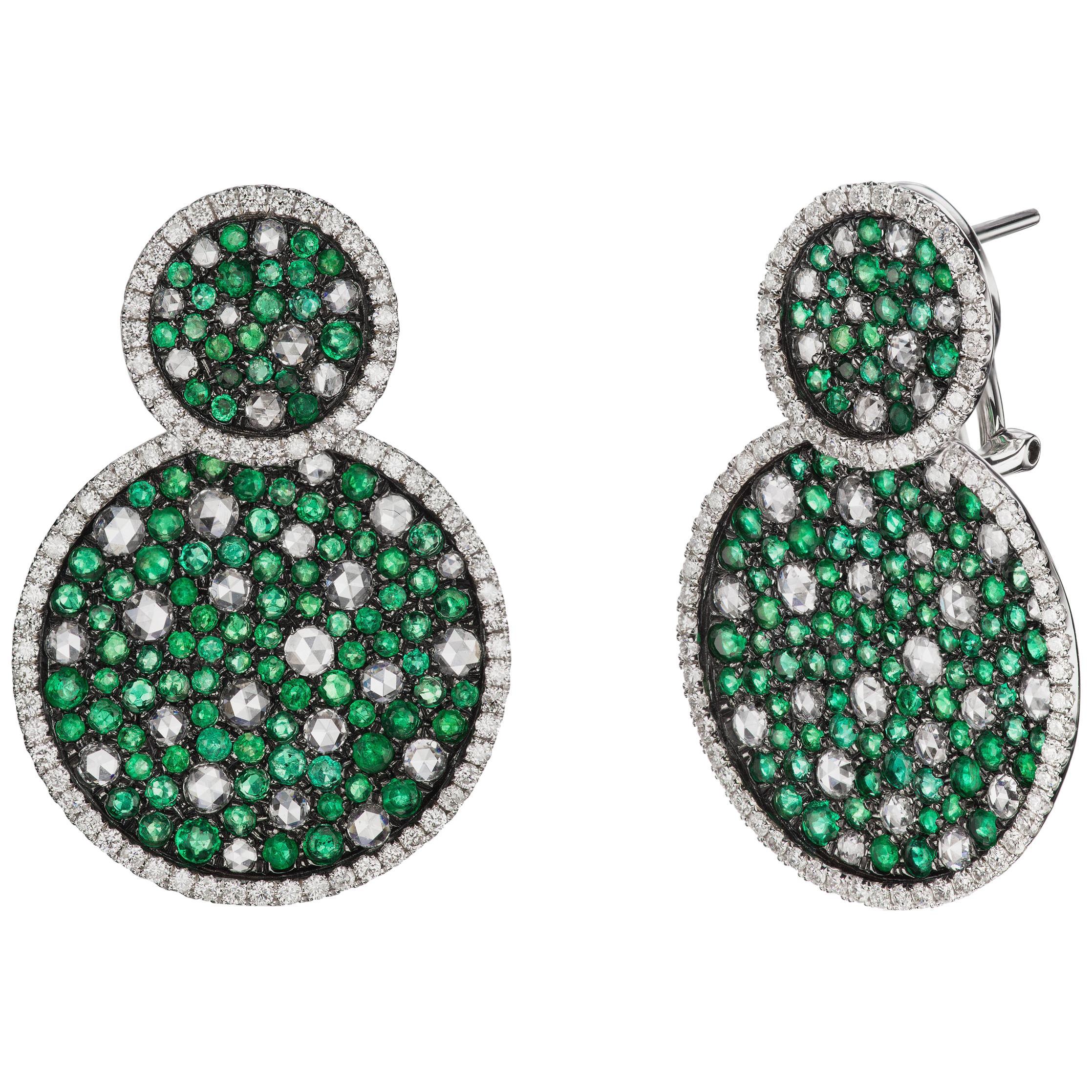 18 Karat White Gold Emeralds and Diamond Cluster Drop Earrings