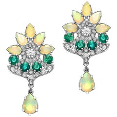 18 Karat White Gold Emeralds Diamonds and Opals Floral Dangling Earrings
