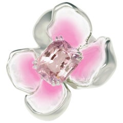 18 Karat White Gold Enamel Ring with Certified 2.08 Carat Padparadscha Sapphire