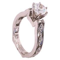18 Karat White Gold Engagement Bridal Ring with Zircon Center 0.25 TDW