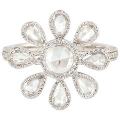 18 Karat White Gold Engagement Diamond Floral Ring