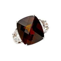 18 Karat White Gold Engagement Ring Set with 13.80 Carat Tourmaline and Diamonds