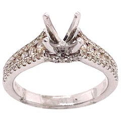 18 Karat White Gold Engagement Ring Setting with Three Tier Accent Diamond Band