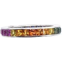 18 Karat White Gold Eternity Band Ring with Semi Precious Stones