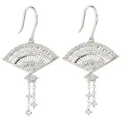 18 Karat White Gold Fan Shape Diamond Earrings