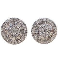18 Karat White Gold Fan Style Earrings - 0.77 Carat of Baguette & Round Diamond