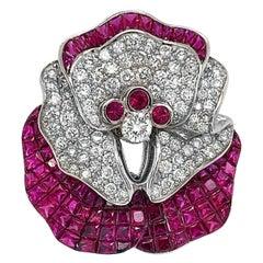 18 Karat White Gold Fancy Ruby Diamond Brooch