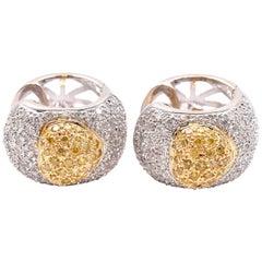 18 Karat White Gold Fancy Yellow and White Diamond Pave Heart Huggie Earrings