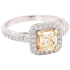 18 Karat White Gold Fancy Yellow Diamond Engagement Ring
