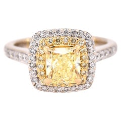 18 Karat White Gold Fancy Yellow Diamond Engagement Ring GIA Certified