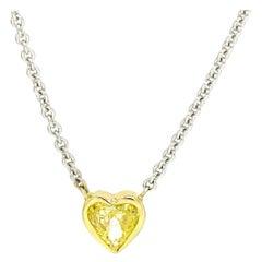 18 Karat White Gold Fancy Yellow Heart Cut Diamond Necklace