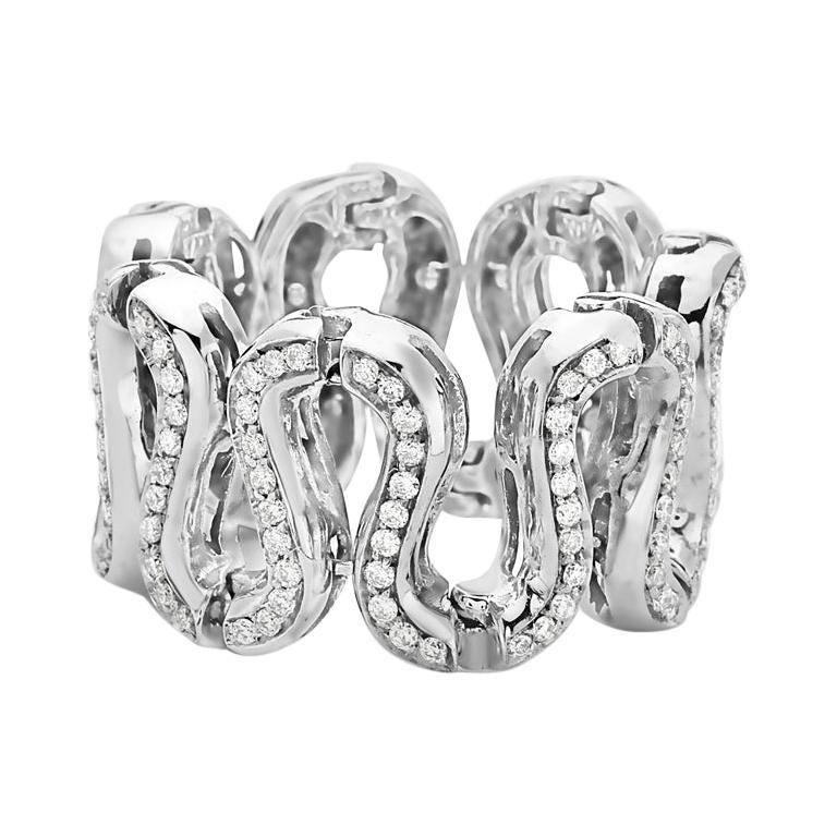 18 Karat White Gold Fashion Snake S-Link Diamond Ring