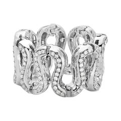 18 Karat White Gold Fashion Snake S-Link Diamond Ring