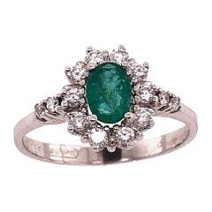 18 Karat White Gold Fashion Wempe Emerald and Diamond Ring