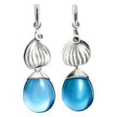 18 Karat White Gold Fig Contemporary Cocktail Drop Earrings with Topazes