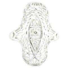 18 Karat White Gold Filigree and Diamond Ring