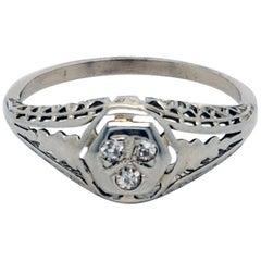 18 Karat White Gold Filigree and European Cut Diamond Ring