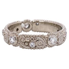18 Karat White Gold Filigree Pattern Band with White Diamonds