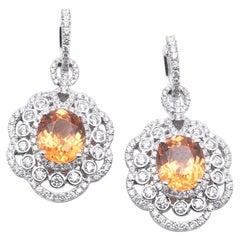 18 Karat White Gold Fire Opal and Diamond Drop Earrings