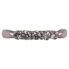 18 Karat White Gold Five Diamond Anniversary Ring Wedding Bridal Band 0.33 TDW