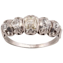 18 Karat White Gold Five Old Cut Diamond Ring