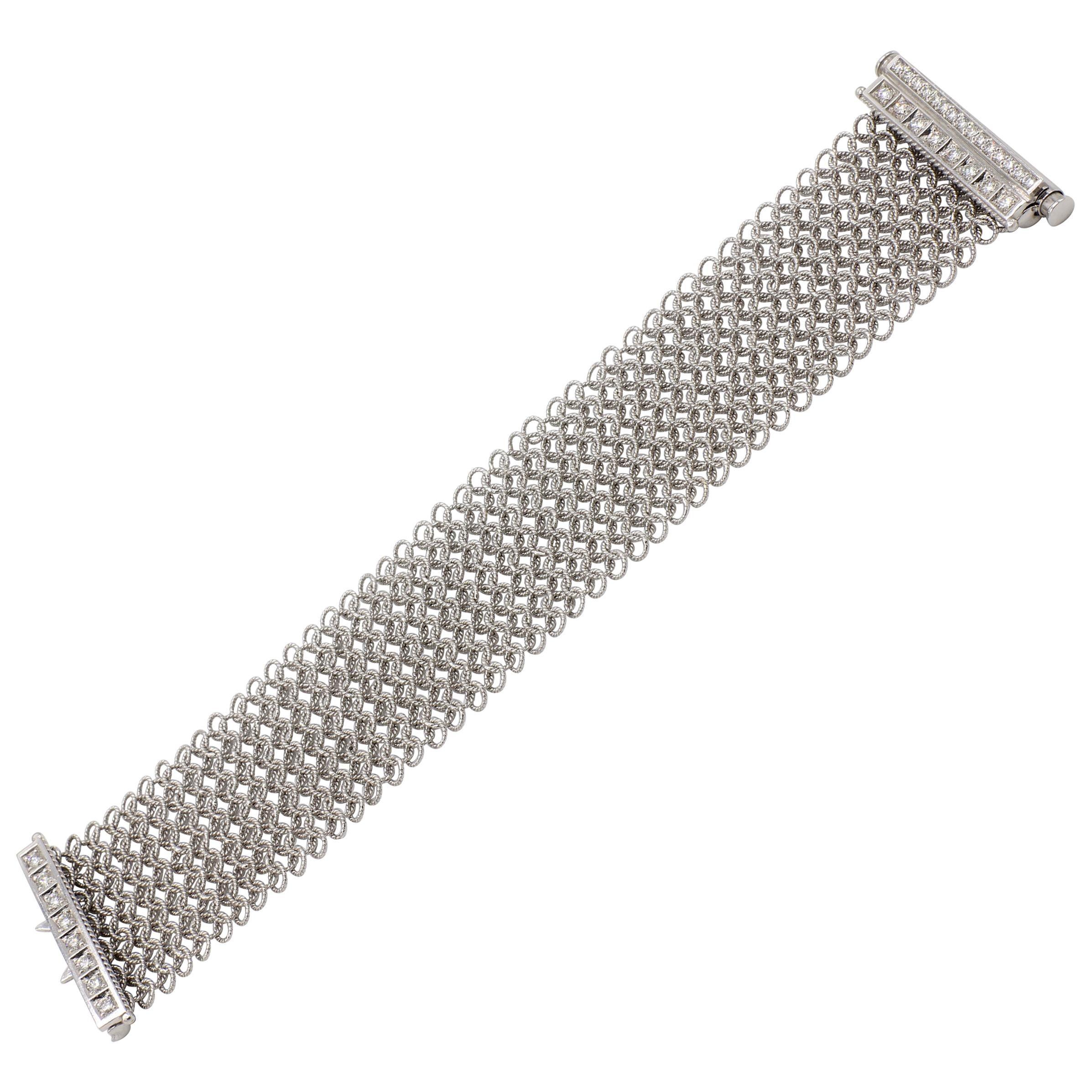 18 Karat White Gold Flexible Diamond Mesh Bracelet