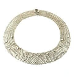 18 Karat White Gold Flexible Textured Choker Necklace with Bezel Set Diamonds