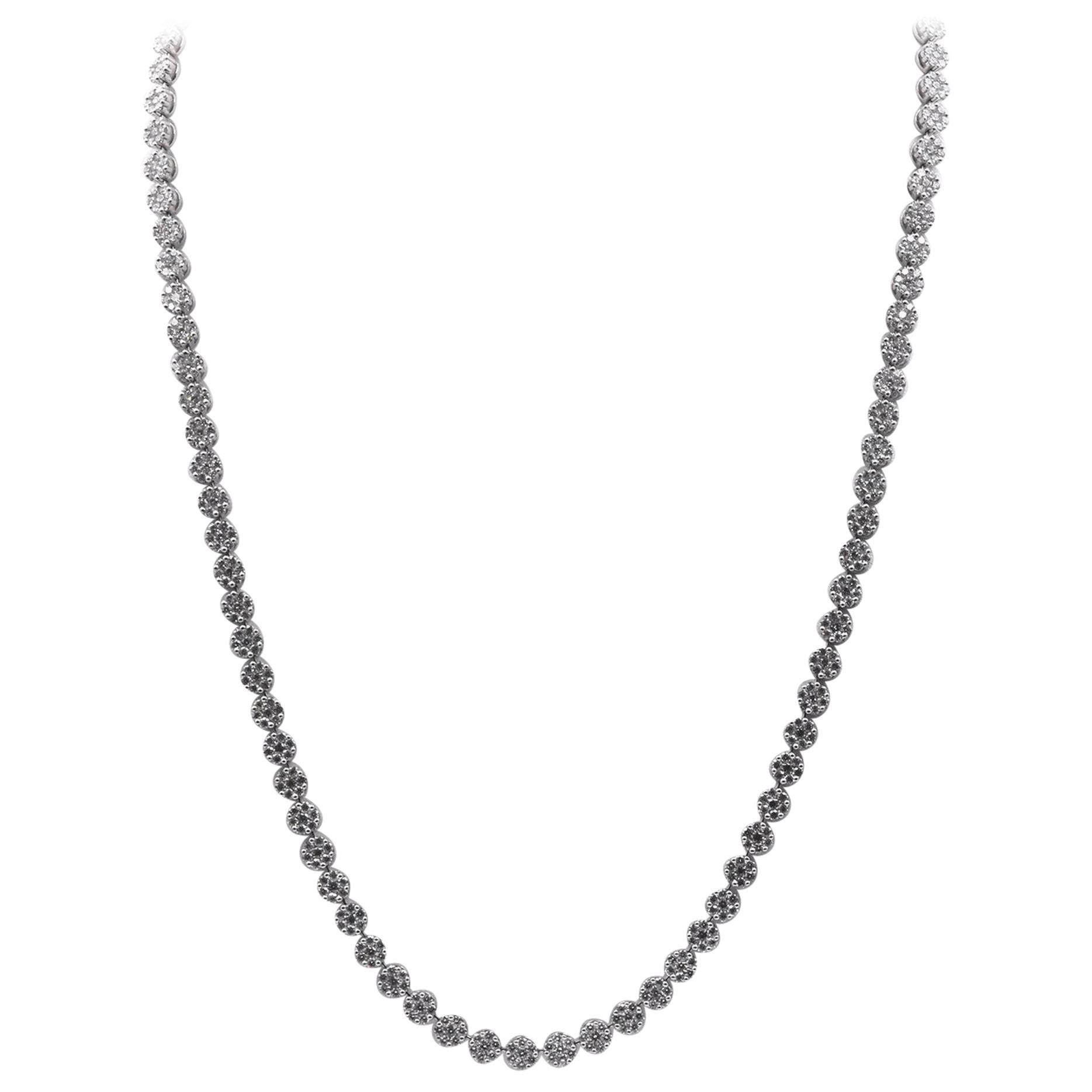 18 Karat White Gold Floral Diamond Cluster Necklace